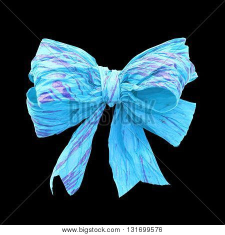 Light blue mulberry paper bow on black background