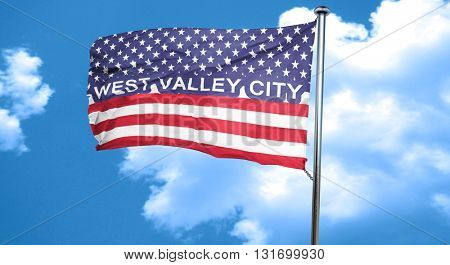 west valley city, 3D rendering, city flag with stars and stripes