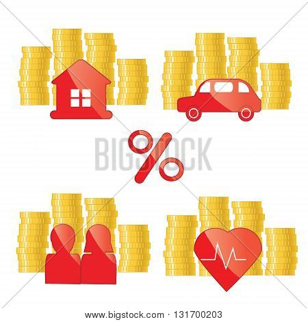 Red glance icons with golden coins and perscent sign. Investing banking financial credit purpose concept illustration for web sites presentations and other business