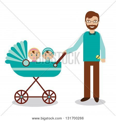 Happy father with newborn children in babystroller. Young smiling man with babies twins. Happy family theme vector illustration