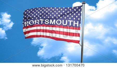 portsmouth, 3D rendering, city flag with stars and stripes