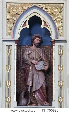 STITAR, CROATIA - AUGUST 27: St. Luke the Evangelist on the pulpit in the church of Saint Matthew in Stitar, Croatia on August 27, 2015