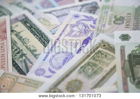 Close up of international bank note money collection