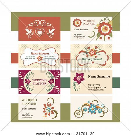 template of vector set vintage business cards with floral logo. Ideal for a wedding planner or florist. Feminine print design