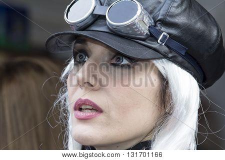 CAGLIARI, ITALY - June 1, 2014: Sunday at La Grande Jatte public gardens - Sardinia. portrait of a beautiful girl in the steampunk costumes
