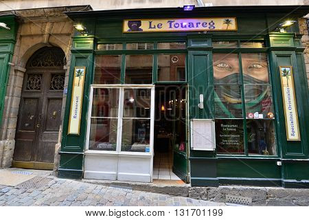 Lyon France - april 13 2016: restaurant in the picturesque saint Jean district in the old historical Lyon