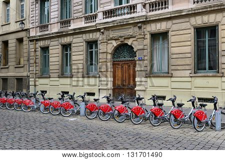 Lyon France - april 13 2016: public bicycle rental in the picturesque saint Jean district in the old historical Lyon