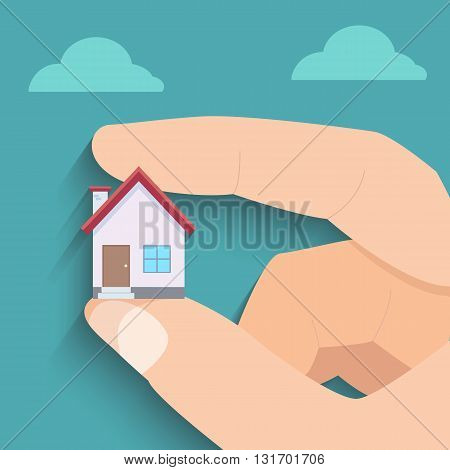 Little house and big finger in the sky