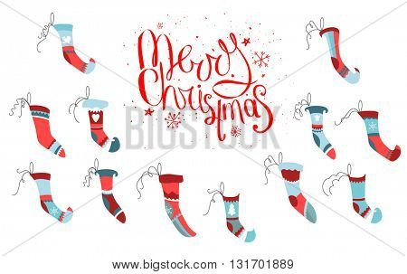Set of traditional Santa socks on white background. Isolated objects for festive design.