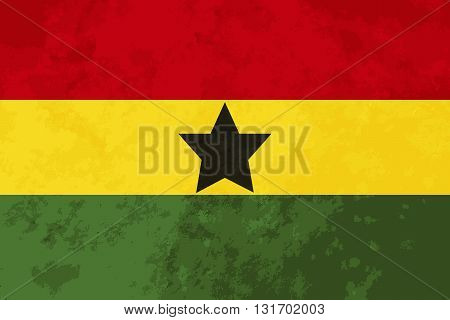 True proportions Ghana flag with grunge texture