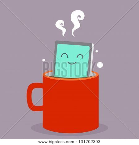 Red cup of coffee and smartphone , relaxing time