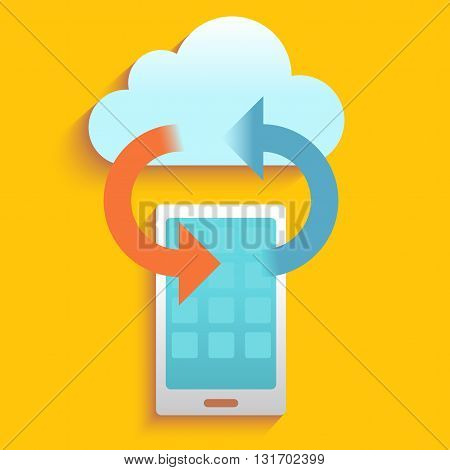 Data on cloud and smartphone , technology communication