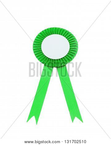green satin ribbon bow Isolated on white