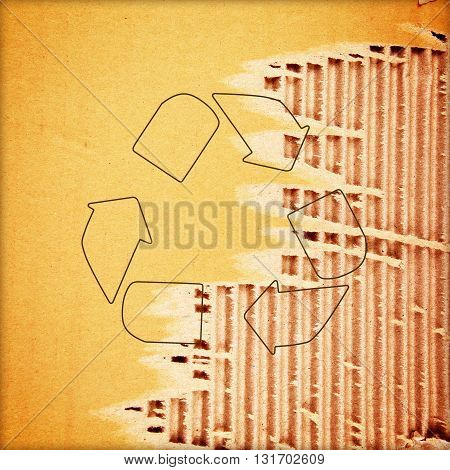 The recycle symbol rough paper texture background