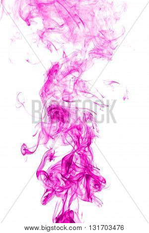 Abstract pink smoke on white background from the incense sticks