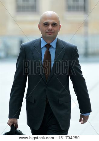 LONDON, UK - APRIL 3, 2016: Sajid Javid MP seen arriving to the BBC Andrew Marr show at the BBC studios