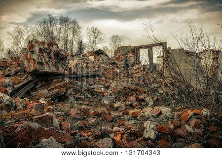 Destroyed building.The post-apocalyptic landscape after a nuclear war