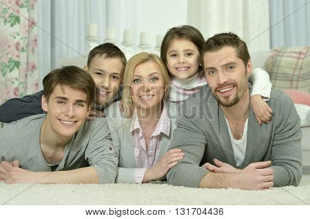 Portrait of a happy family at home