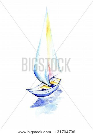 Sailing boat on a white background.Watercolor painting of sailing ship with white sails