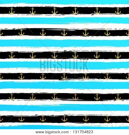 Glitter gold blue striped wallpaper. Paint brush strokes anchor background. Black and white calligraphy stripes. Golden anchor pattern. Hipster trendy vector illustration.