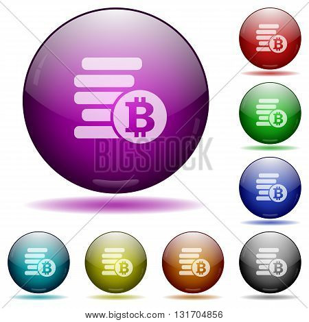 Set of color bitcoins glass sphere buttons with shadows.