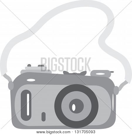 classic camera with a strap in black and white colors on a white background