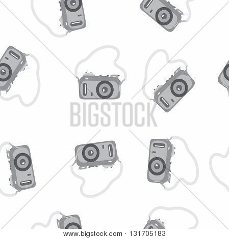 Seamless pattern camera with a strap on a transparent background