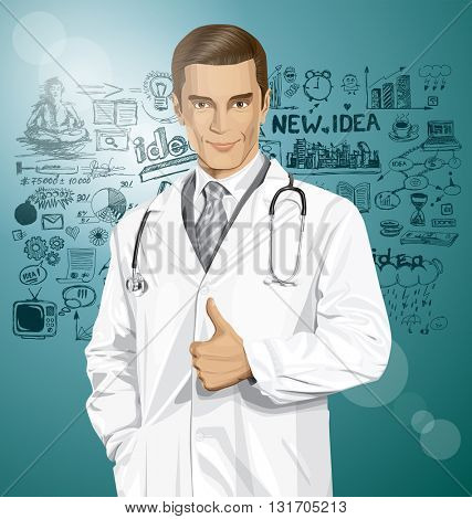 Vector doctor man with stethoscope shows well done, have got an idea