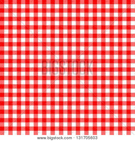 Gingham Classic Style Red and White Seemless Pattern With Speckled Effect