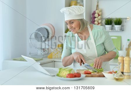 Senior woman portrait at kitchen  with laptop
