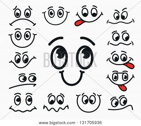 Cartoon facial expression of joy of sadness discontent. Emotions mouth and eyes with tongue.