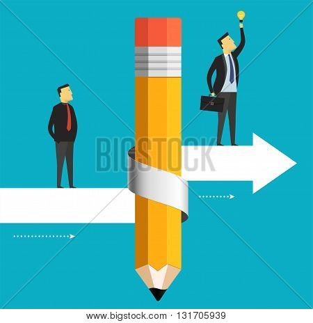 Businessman is moving to the target including a bulb. Business concept pencil with arrow up.