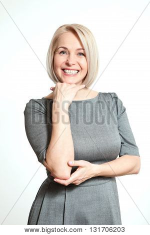 Happy woman portrait close up. Success. Isolated over white background.