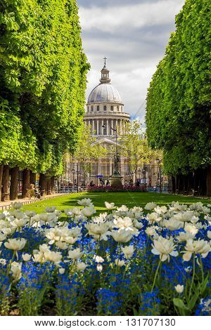 PARIS FRANCE - MAY 11 2013: This is view of the Pantheon from the alley of the Luxembourg Garden.
