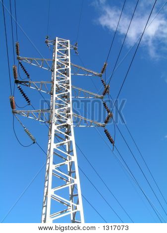 Electricity Pilon And Cabling At Blue Sky2