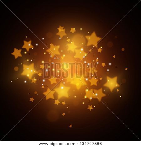 Magic stars background, Gold magic stars, Vector illustration