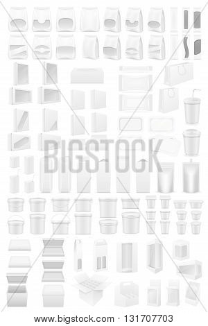 white packing big set icons vector illustration isolated on background
