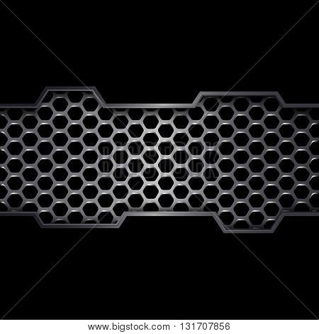 Abstract metal background, Geometric pattern of hexagons with black metal plates
