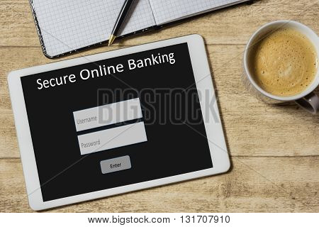 Tablet with screen for secure online banking