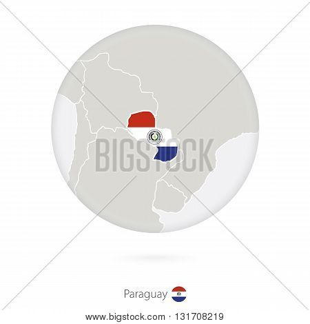 Map Of Paraguay And National Flag In A Circle.