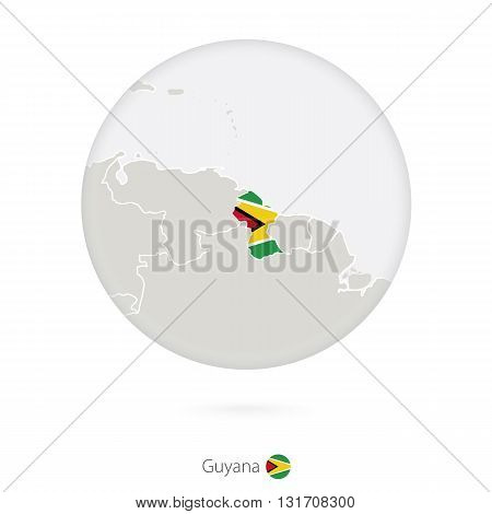 Map Of Guyana And National Flag In A Circle.