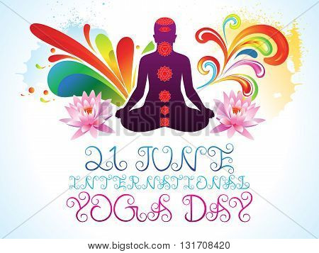 abstract colorful yoga day explode vector illustration