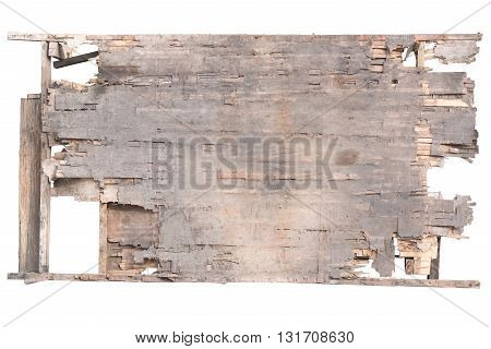 Old weathered plywood damaged plywood wall background and texture isolated with clipping path