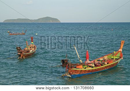 Colorful Boats Nearly The Shore, Phuket Island