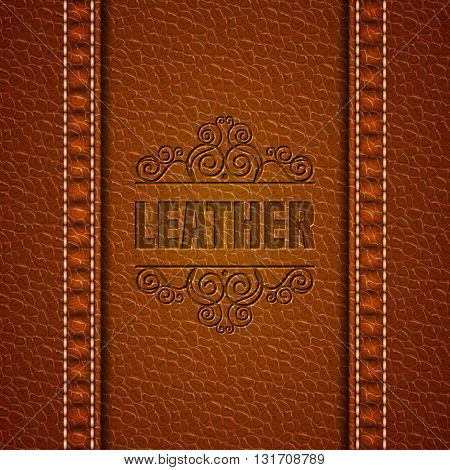 Leather texture background. Realistic leather. Vector illustration