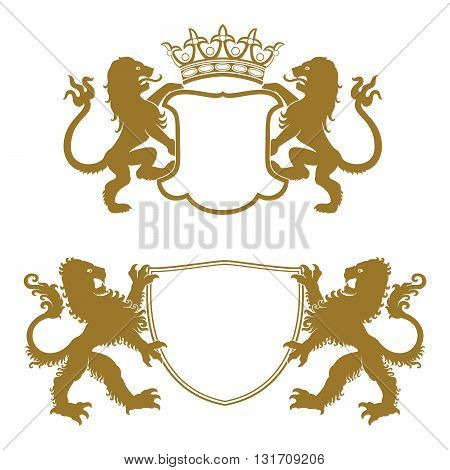 Heraldic crests with lions, which keep empty heraldic shields.