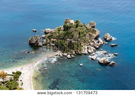Aerial view of island and Isola Bella beach at the Mediterranean Sea in Taormina Sicily Italy
