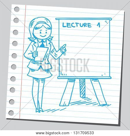 Businesswoman business teacher on presentation