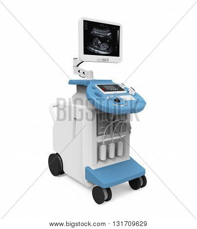 Medical Ultrasound Diagnostic Machine isolated on white background. 3D render