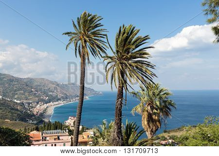 Aerial view at the Sicilian coast near Taormina at Sicily Italy